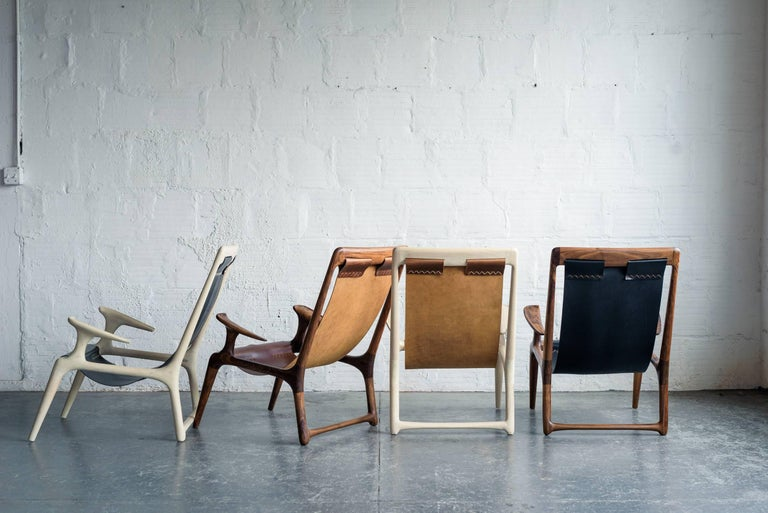 Sling Chair with Leather, Handmade Lounge Armchair Walnut + Black Leather For Sale 2