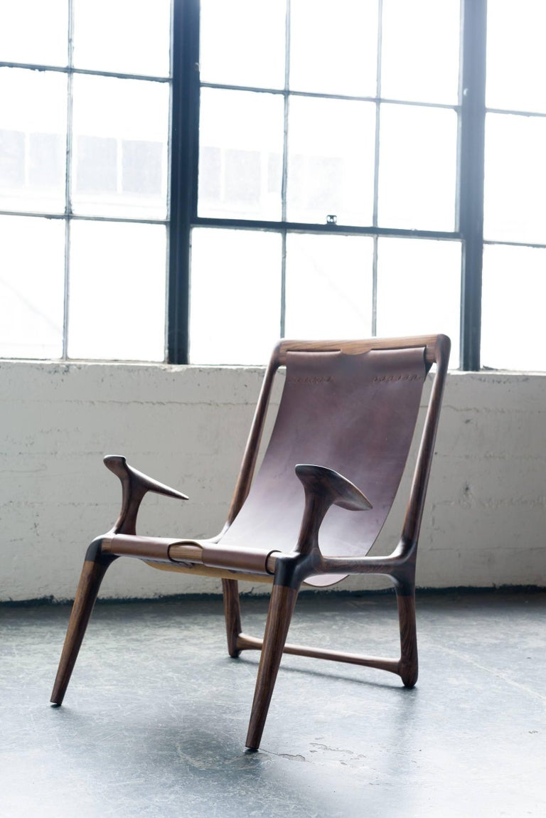 Sling Chair with Leather, Handmade Lounge Armchair Walnut + Black Leather For Sale 4