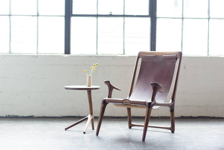 Sling Chair with Leather, Handmade Lounge Armchair Walnut + Black Leather For Sale 5
