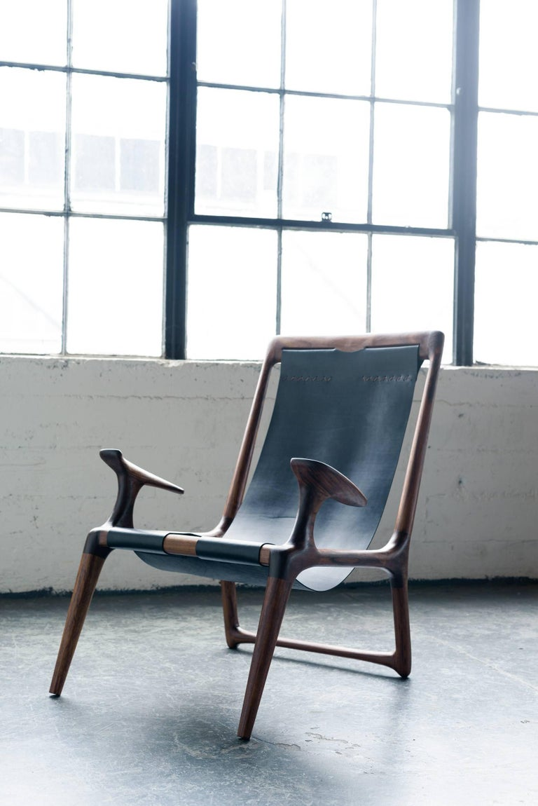 Mid-Century Modern Sling Chair with Leather, Handmade Lounge Armchair Walnut + Black Leather For Sale