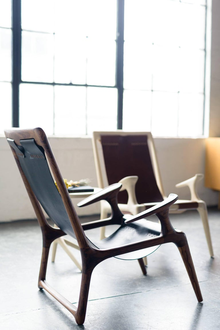 Sling Chair with Leather, Handmade Lounge Armchair Walnut + Black Leather In New Condition For Sale In Bend, OR