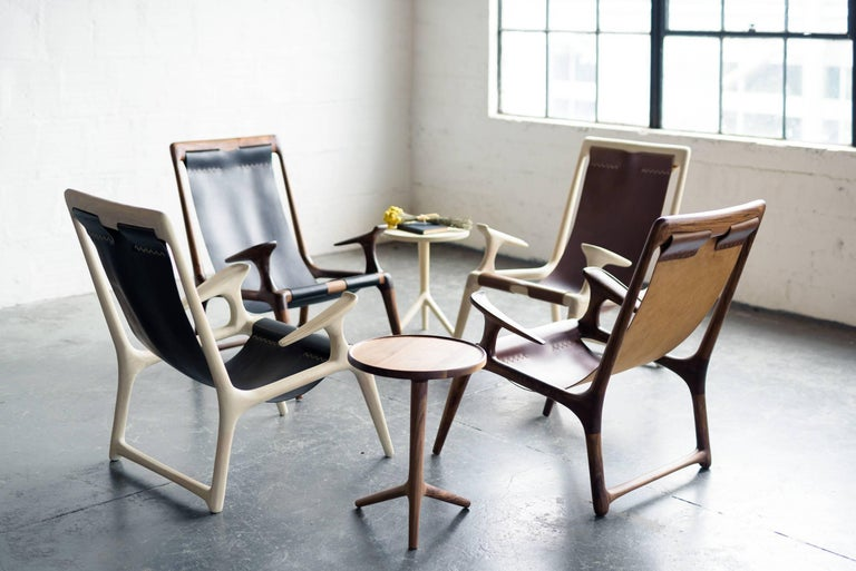 Hardwood Sling Chair with Leather, Handmade Lounge Armchair Walnut + Black Leather For Sale