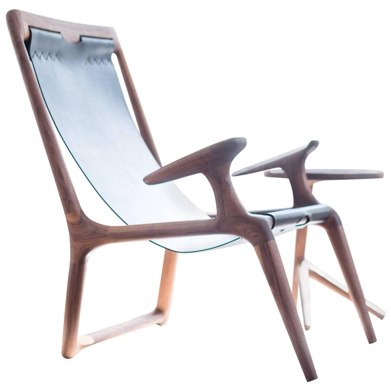 Sling Chair with Leather, Handmade Lounge Armchair Walnut + Black Leather