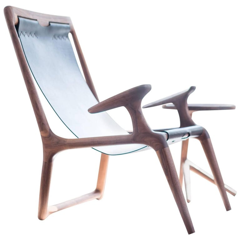 Sling Chair with Leather, Handmade Lounge Armchair Walnut + Black Leather For Sale