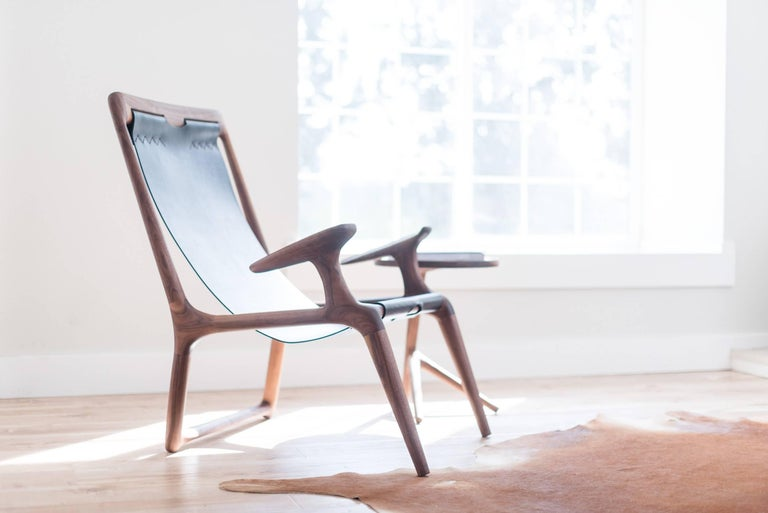 Hand-Carved Lounge and Accent Sling Chair, Walnut and Brown Leather by Fernweh Woodworking For Sale