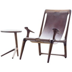 Lounge and Accent Sling Chair, Walnut and Brown Leather by Fernweh Woodworking