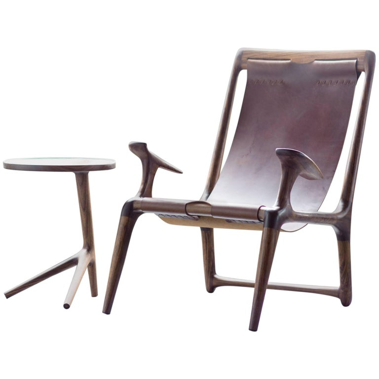 Lounge and Accent Sling Chair, Walnut and Brown Leather by Fernweh Woodworking For Sale
