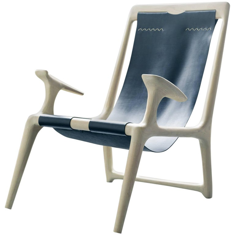 Armchair Handcrafted from White Ash with Black Leather Sling For Sale