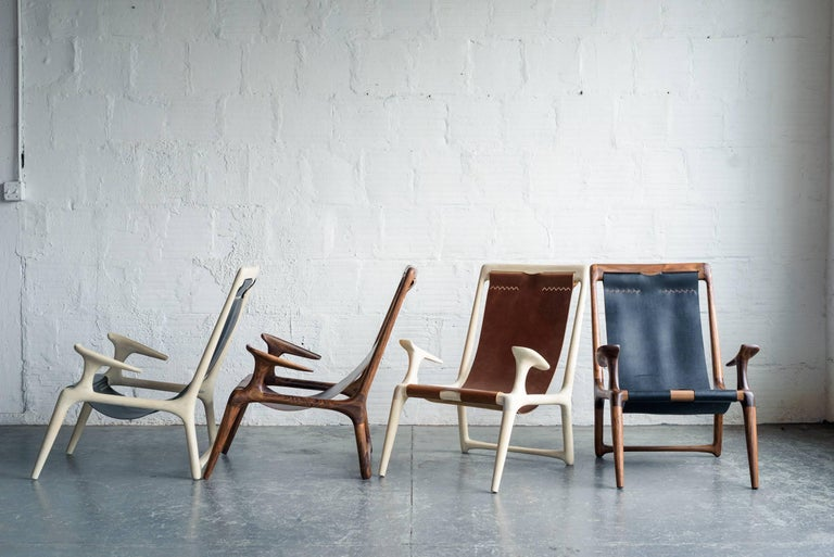 Sling Armchair made from White Ash and Brown Leather - Fernweh Woodworking For Sale 2