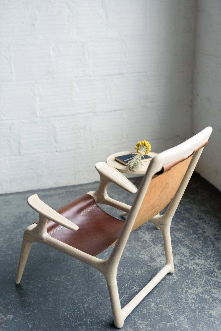 Sling Chair White Ash And Brown Leather Accent And