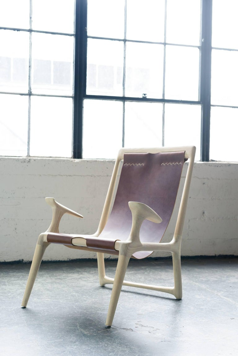 American Sling Armchair made from White Ash and Brown Leather - Fernweh Woodworking For Sale