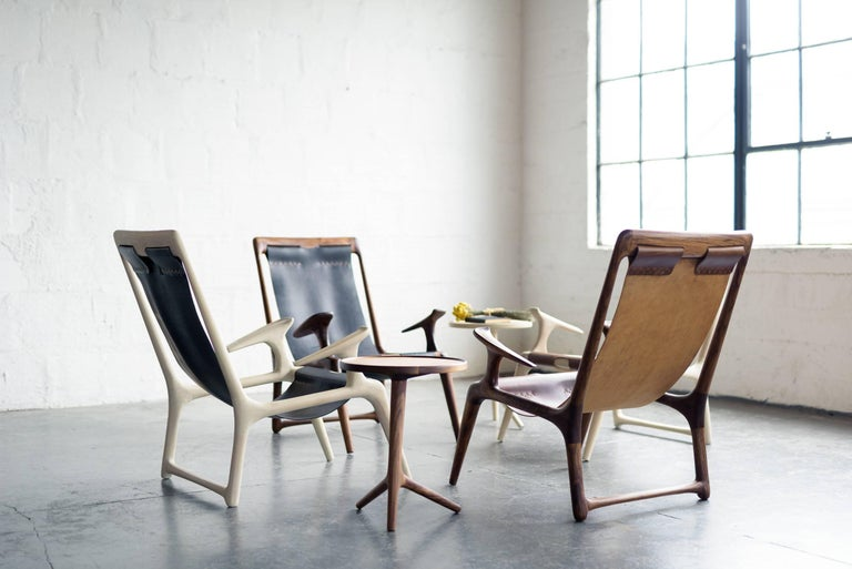 Sling Armchair made from White Ash and Brown Leather - Fernweh Woodworking In New Condition For Sale In Bend, OR