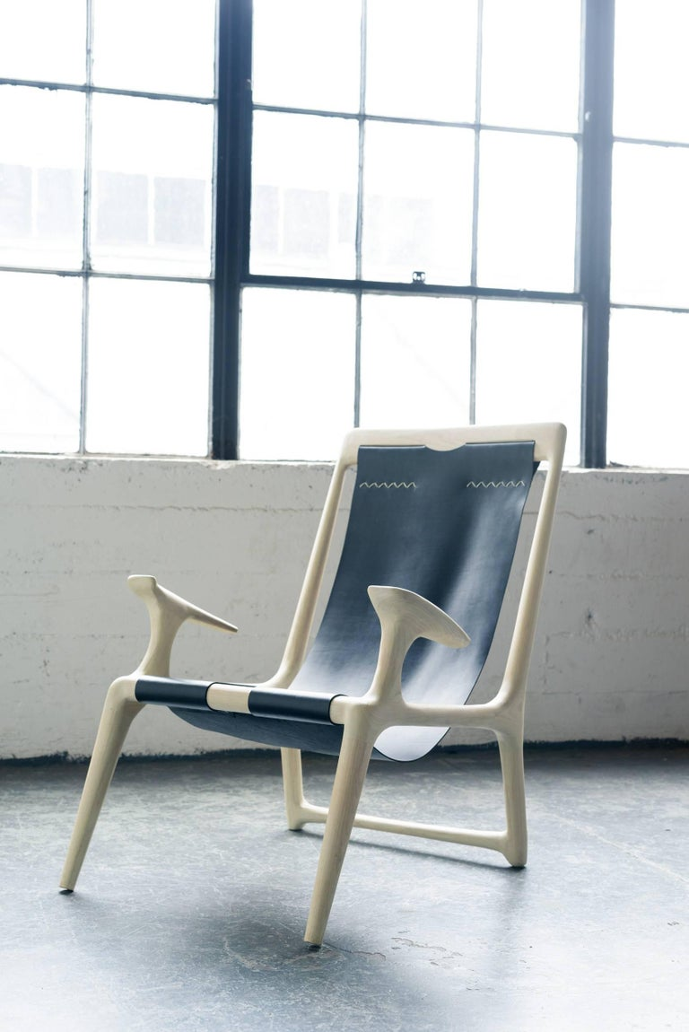 Sling Armchair made from White Ash and Brown Leather - Fernweh Woodworking For Sale 1