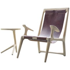 Sling Chair, White Ash and Brown Leather, Accent and Lounge Chair