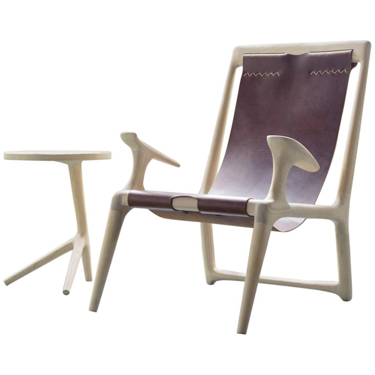 Sling Armchair made from White Ash and Brown Leather - Fernweh Woodworking For Sale