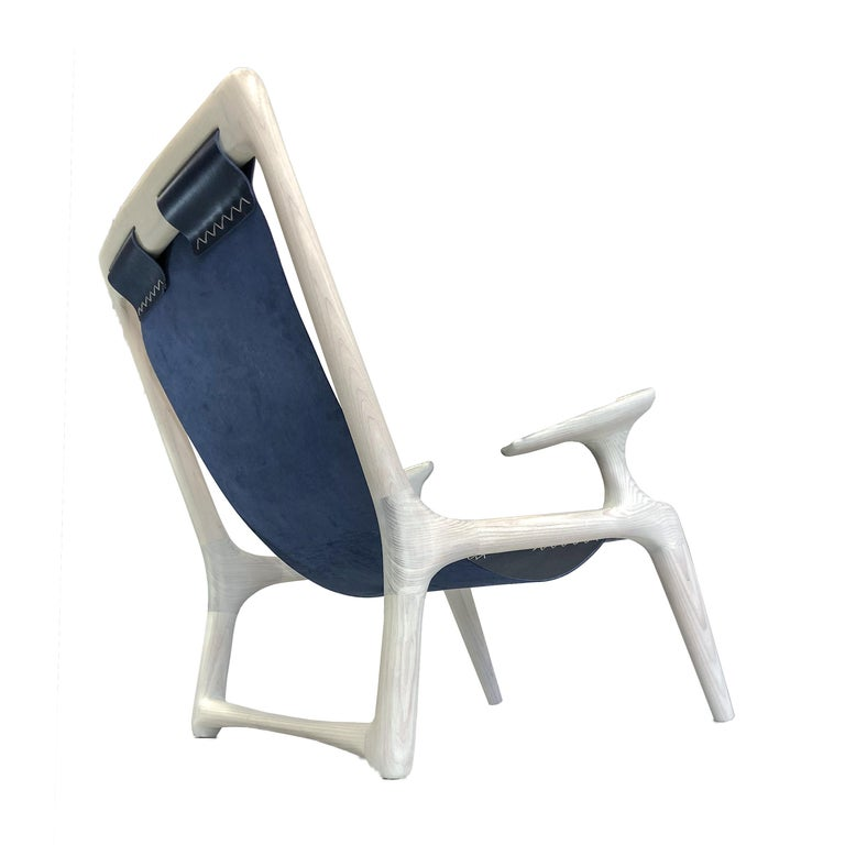 American Handmade Sling Arm Chair in White Ash + Navy Leather, by Fernweh Woodworking For Sale