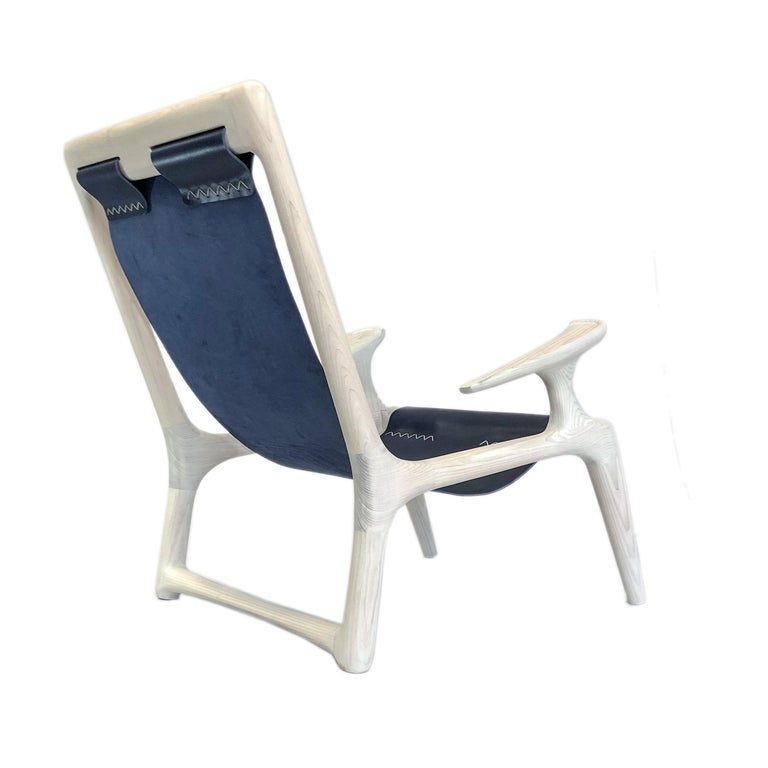 Handmade Sling Arm Chair in White Ash + Navy Leather, by Fernweh Woodworking For Sale
