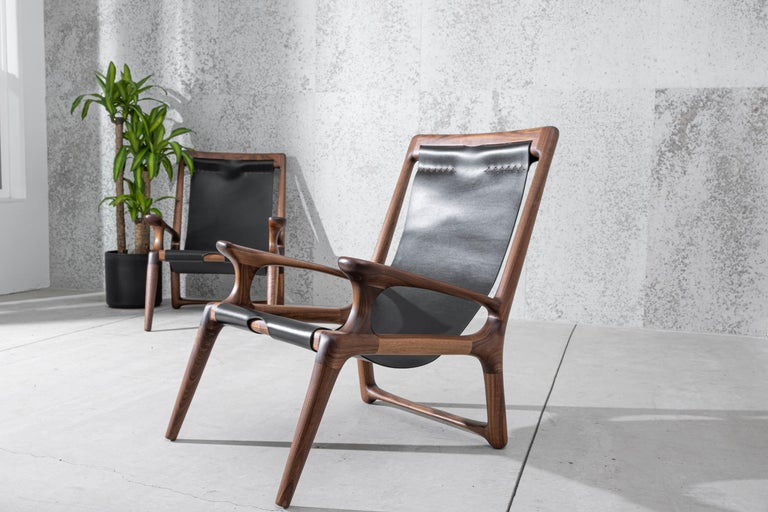 Sling Chair with Leather, Arms Connected, Lounge Armchair Walnut + Black Leather For Sale 2