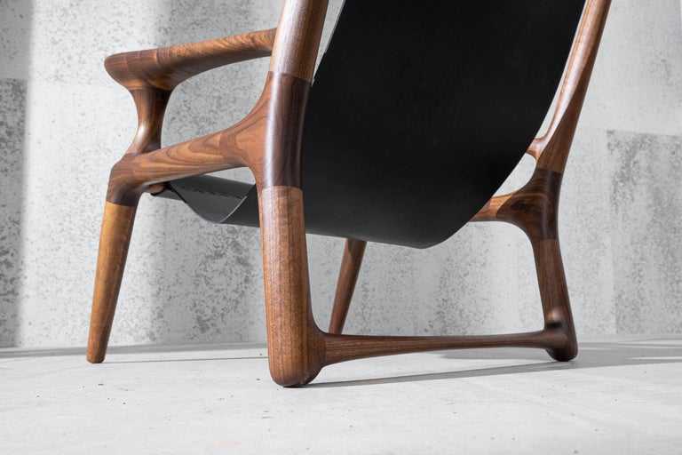 Sling Chair with Leather, Arms Connected, Lounge Armchair Walnut + Black Leather For Sale 3