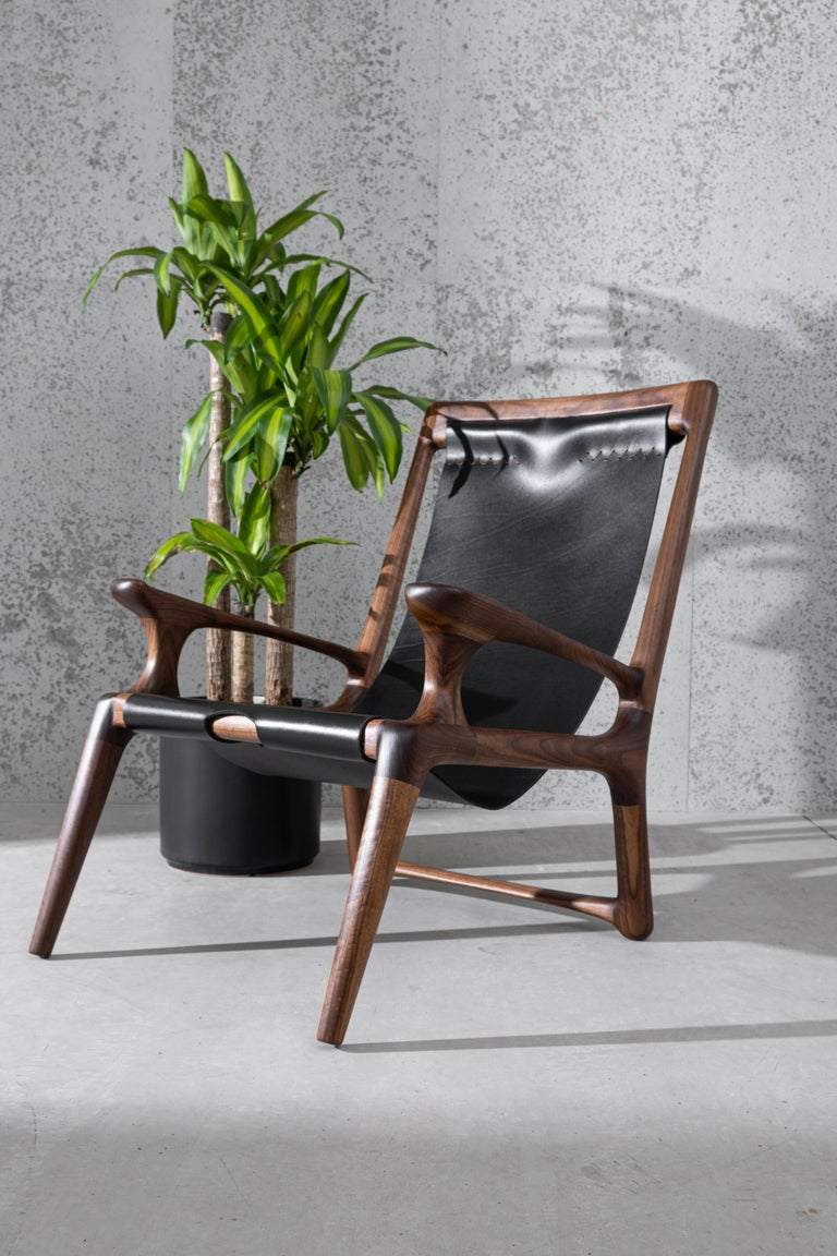 Sling Chair with Leather, Arms Connected, Lounge Armchair Walnut + Black Leather For Sale 4