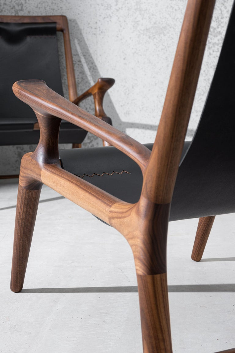 Contemporary Sling Chair with Leather, Arms Connected, Lounge Armchair Walnut + Black Leather For Sale