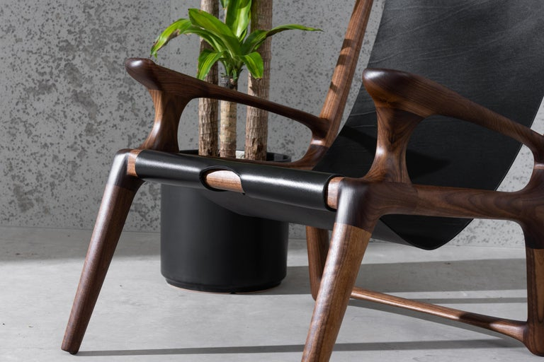 Hardwood Sling Chair with Leather, Arms Connected, Lounge Armchair Walnut + Black Leather For Sale