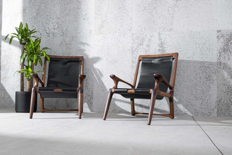 Sling Chair with Leather, Arms Connected, Lounge Armchair Walnut + Black Leather For Sale 1