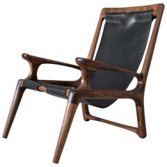 Sling Chair with Leather, Arms Connected, Lounge Armchair Walnut + Black Leather