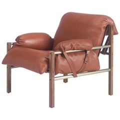 Sling Club Chair in Solid Walnut, Bronze and Leather Designed by Craig Bassam