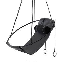 Sling Hanging Swing Chair Genuine Black Leather 21st Century Modern