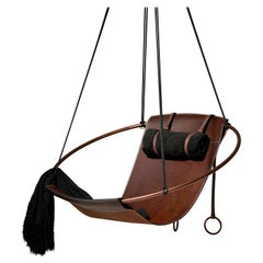 Sling Hanging Swing Chair Genuine Brown Leather 21st Century Modern