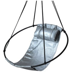 Sling Hanging Swing Chair Genuine Silver Leather 21st Century Modern