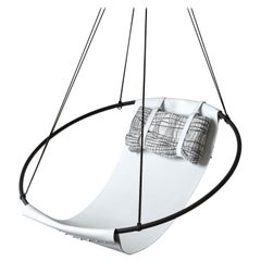 Sling Hanging Swing Chair Genuine White Leather 21st Century Modern