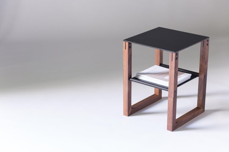 Minimalist Sling - Modern Aluminum, Leather and Walnut Side Table  For Sale