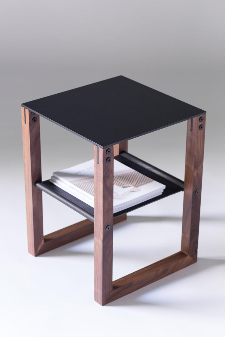 American Sling - Modern Aluminum, Leather and Walnut Side Table  For Sale