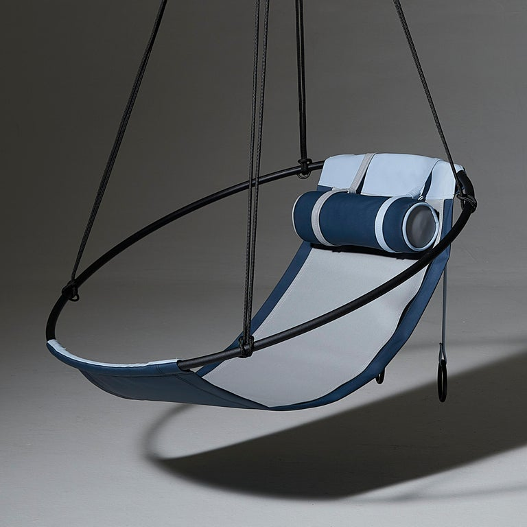 OurOutdoor Sling hanging chair - a great offering for outside and under patio use - come rain or shine. We support products that are created to be gentle on the planet - and these Slings are crafted with Spradling Silvertex material – a highly