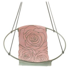 Sling Rose Pink Grey Hand Stitched Genuine Leather