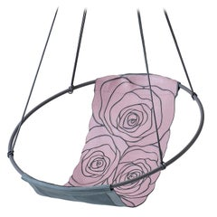 Sling Rose Pink Grey Machine Stitched Genuine Leather Hanging Swing Chair