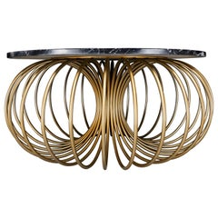Slink Coffee Table, Nero Marquina Marble and Gold Powder Coated Metal