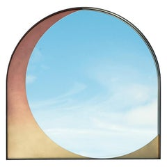 Slip Mirror in Contemporary Blackened Steel and Rose Gradient Patinated Bronze