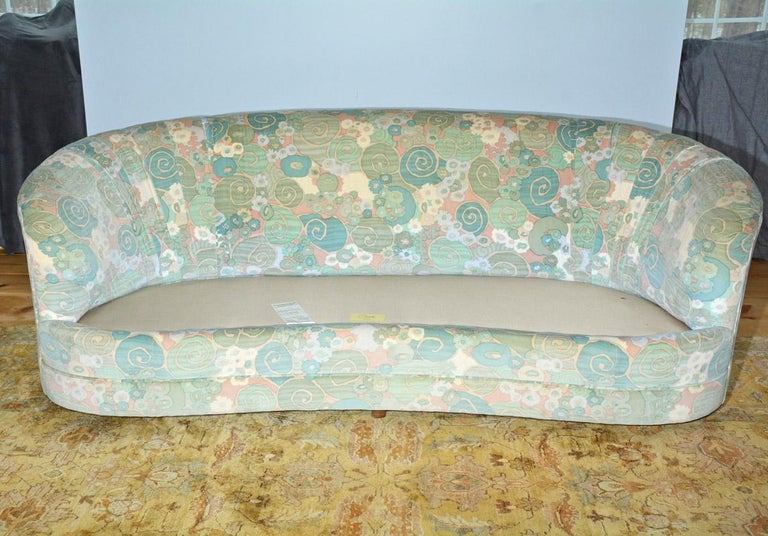 Mid-Century Modern Slipcovered Curved Sofa For Sale