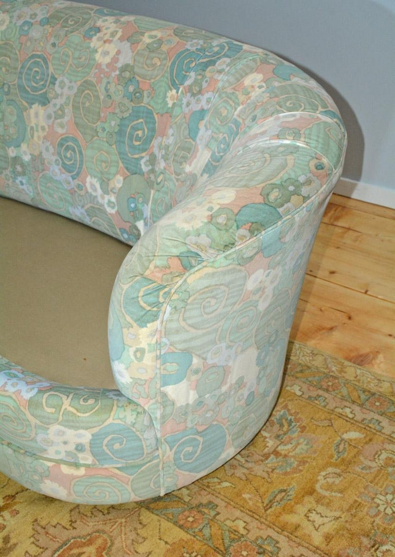 Slipcovered Curved Sofa For Sale 2