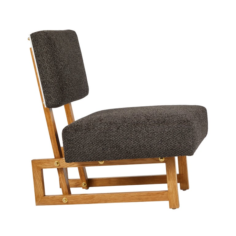 Slipper chair in the style of André Sornay. Handcrafted in Los Angeles in the workshop of noted French designer and antiques dealer Denis de le Mesiere, who pays homage to the work of the French Modernist era with scrupulous attention to detail and