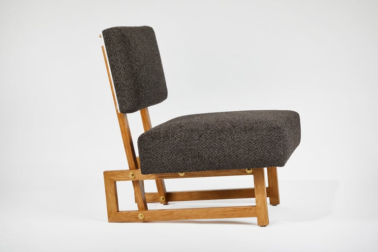 Brass Slipper Chair in the Style of André Sornay For Sale