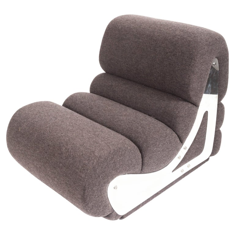 Slipper Chair with Brushed Stainless Steel Sides by Kappa For Sale