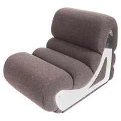 Slipper Chair with Brushed Stainless Steel Sides by Kappa