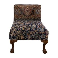 Slipper Chair with Claw Feet from Antique Persian Khorassan Rug