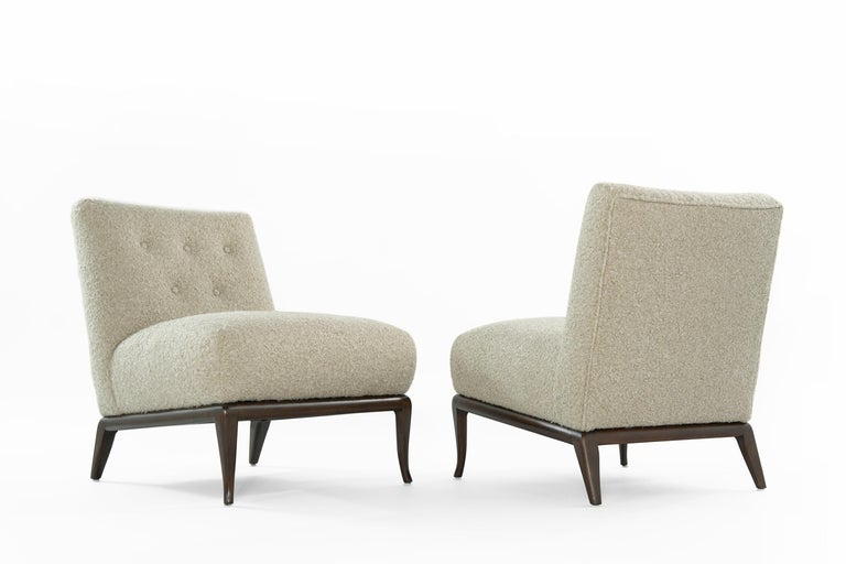 Mid-Century Modern Slipper Chairs in Bouclé by T.H. Robsjohn-Gibbings, circa 1950s For Sale