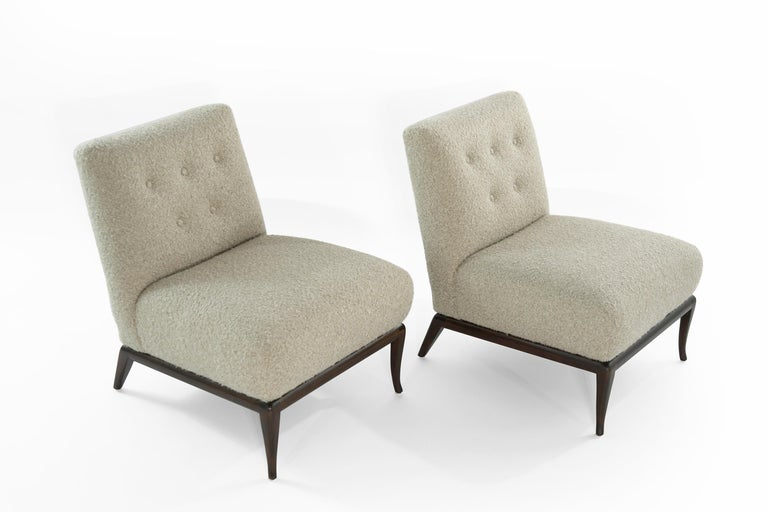American Slipper Chairs in Bouclé by T.H. Robsjohn-Gibbings, circa 1950s For Sale