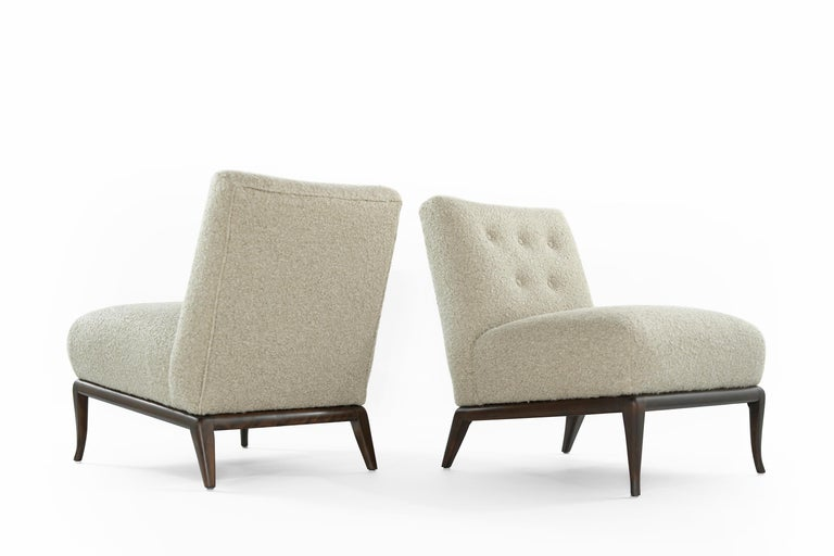 20th Century Slipper Chairs in Bouclé by T.H. Robsjohn-Gibbings, circa 1950s For Sale